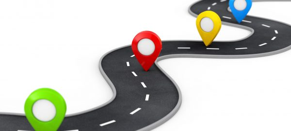 Winding Road with Colorful Pin Pointer on a white background. 3d Rendering